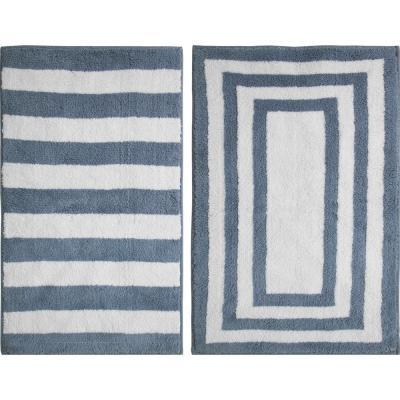 Basel Reversible Cotton Country Blue 21 in. x 34 in. Bath Rug