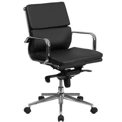 Mid Back Black Leather Executive Swivel Office Chair With Synchro Tilt Mechanism