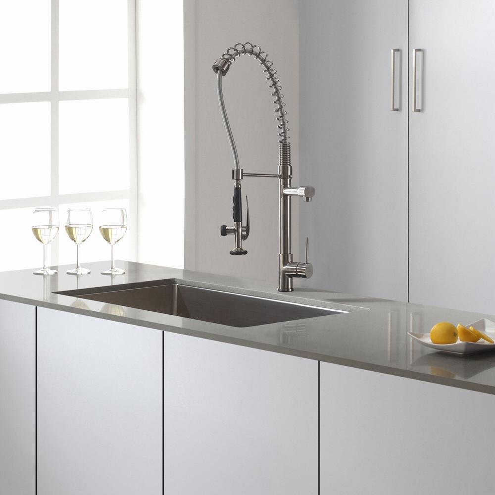 KRAUS Commercial-Style Single-Handle Pull-Down Kitchen Faucet with  Pre-Rinse Sprayer in Stainless Steel