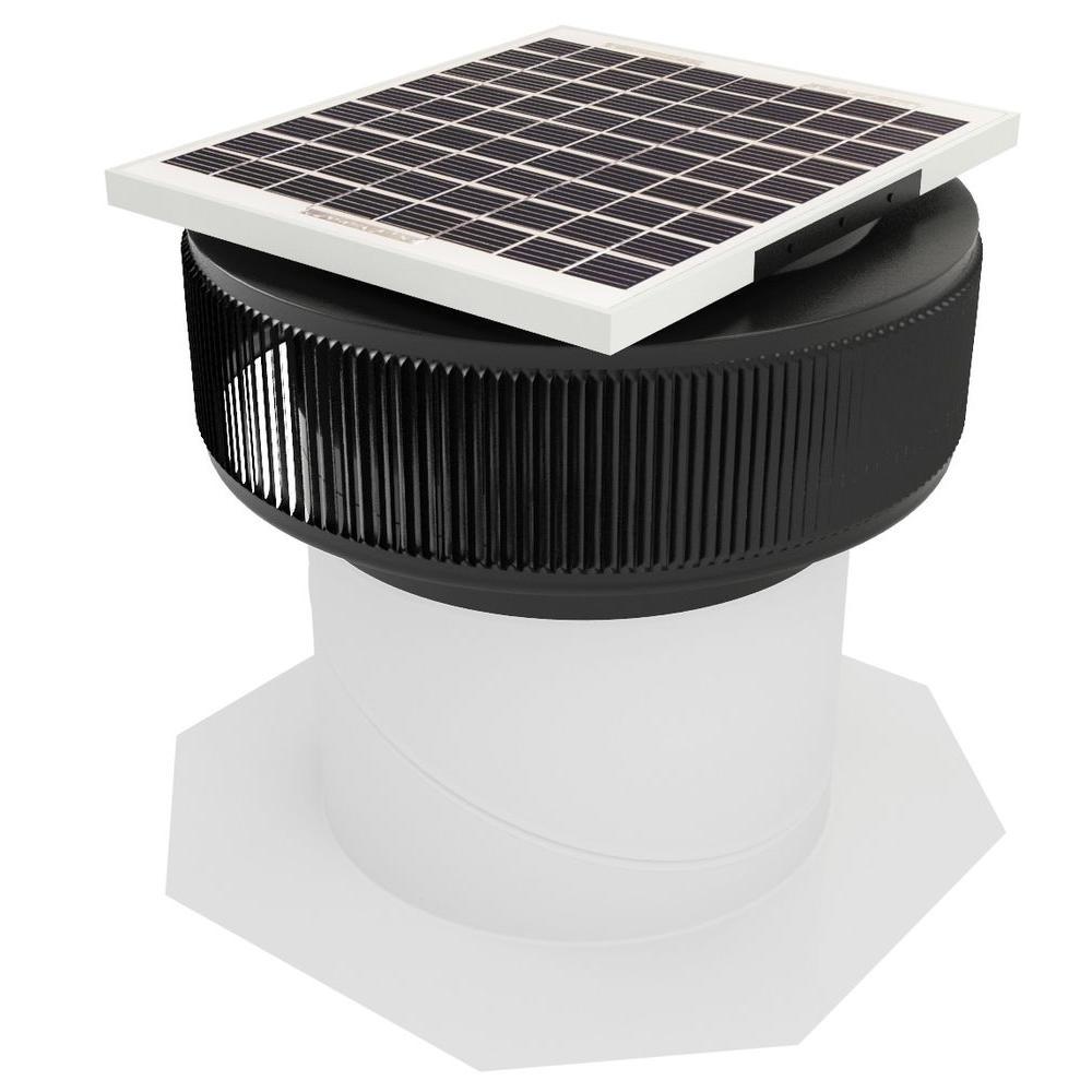 740 CFM Black Powder Coated 10-Watt Solar Powered 12 in. ...