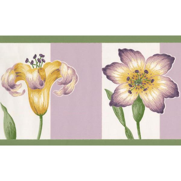 York Wallcoverings ''Purple Violet Yellow Flowers on White and Mauve Stripes