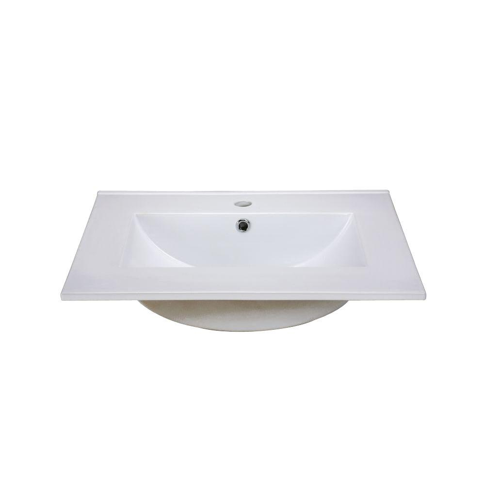 Hembry Creek 25 in. Vitreous China Vanity Top in White