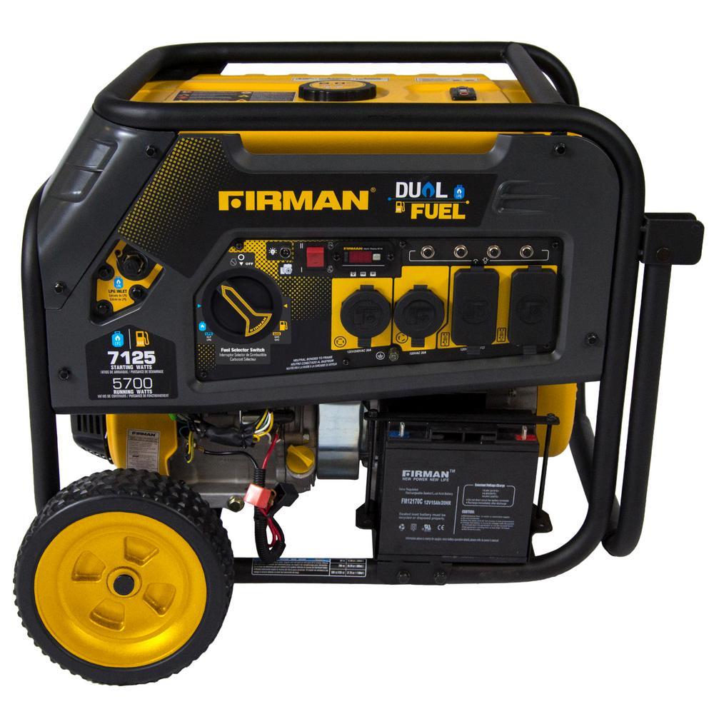 Hybrid 5,700-Watt Dual Fuel Powered Manual Start Portable Generator with FIRMAN Engine