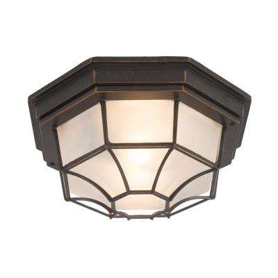 Serge Collection 1-Light Oil Rubbed Bronze Outdoor Flash Mount Lamp