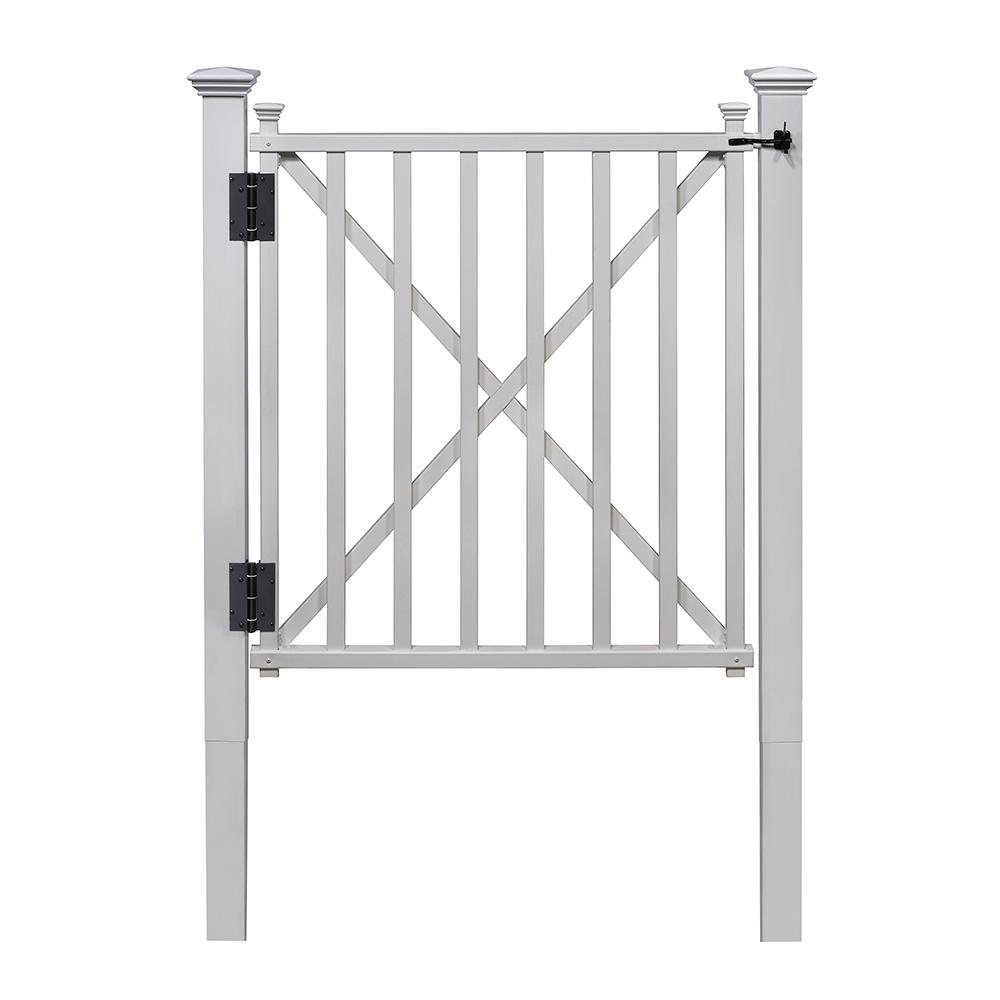 312 ft h x 312 ft w white vinyl birkdale fence gate kit with posts and the home depot