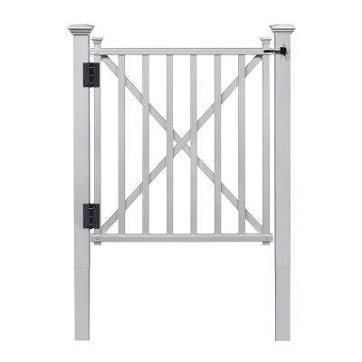 3-1/2 ft. H x 3-1/2 ft. W White Vinyl Birkdale Fence Gate Kit with Posts and Hardware