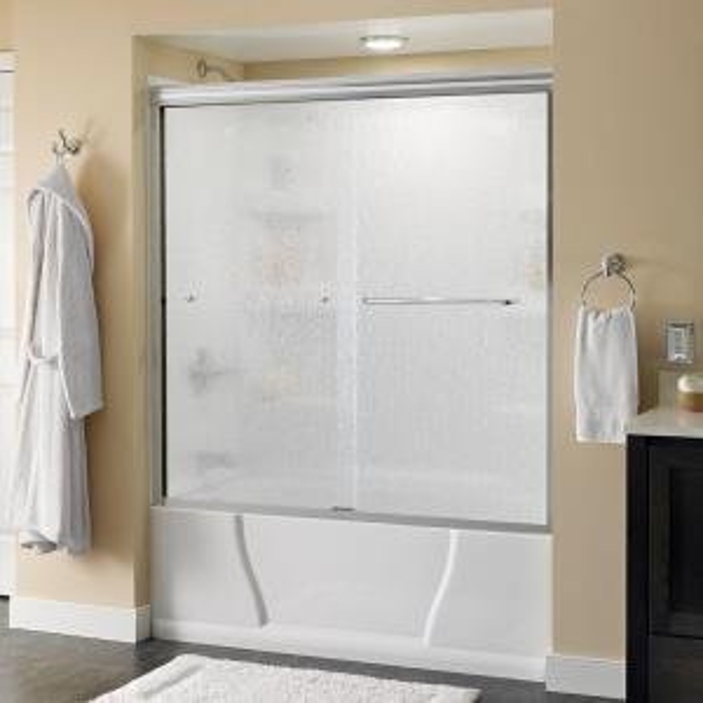 Delta Simplicity 60 inch x 58-1/8 inch Semi-Frameless Sliding Bathtub Door in Chrome with Rain Glass by Delta