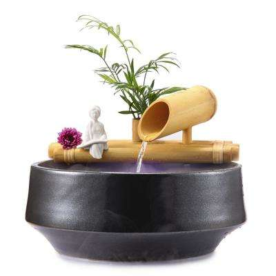18 in. Bamboo Fountain with Plant Holder-Complete with Pump and Tubing