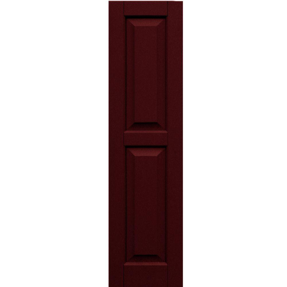 Winworks Wood Composite 12 in. x 47 in. Raised Panel Shutters Pair #650 Board and Batten Red