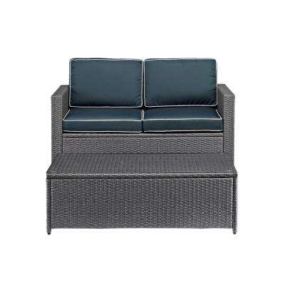 Palm Harbor 2-Piece Wicker Patio Conversation Set with Navy Cushions