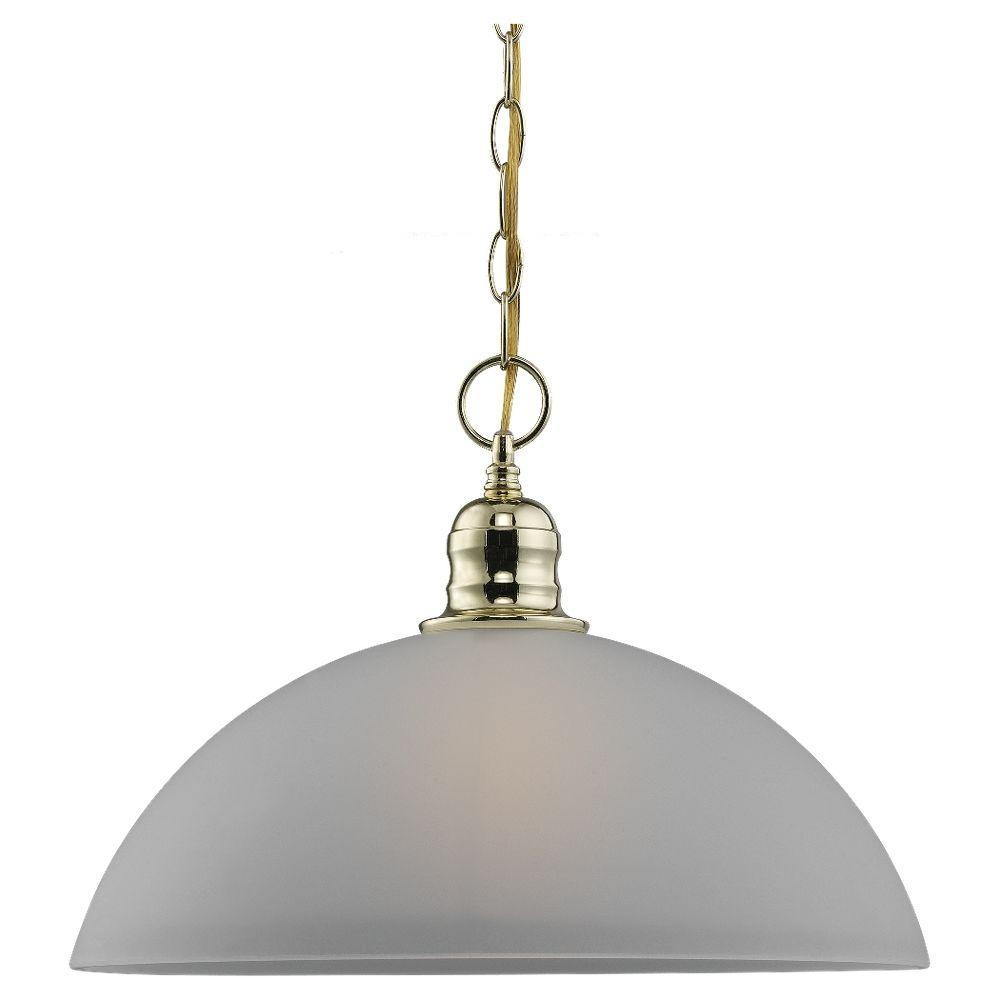 Sea Gull Lighting Linwood 1-Light Polished Brass Pendant