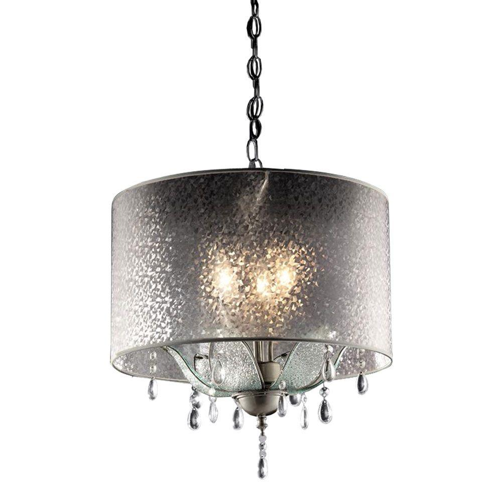 OK LIGHTING 3-Light Silver Petal Crystal Ceiling Lamp