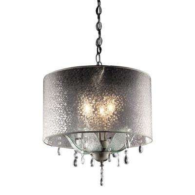 3-Light Silver Petal Crystal Ceiling Lamp