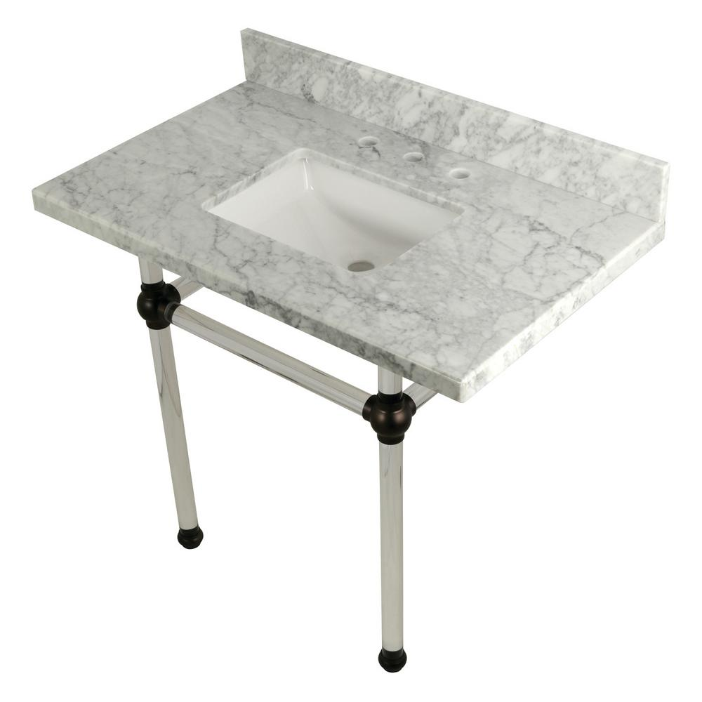 Square-Sink Washstand 36 in. Console Table in Carrara Marble with Acrylic
