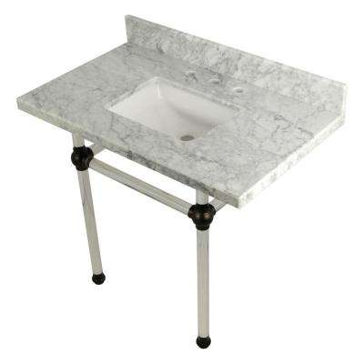 Square-Sink Washstand 36 in. Console Table in Carrara Marble with Acrylic Legs in Oil Rubbed Bronze