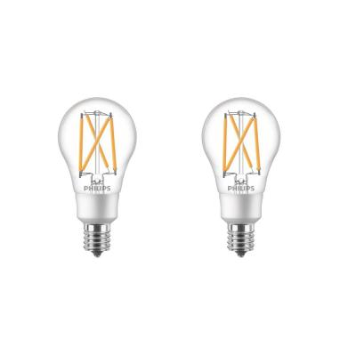 40-Watt Equivalent Soft White A15 Dimmable Intermediate Base LED Light Bulb with Warm Glow Dimming Effect (2-Pack)