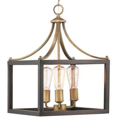 Boswell Quarter Collection 3-Light Vintage Brass Pendant with Painted Black Distressed Wood Accents
