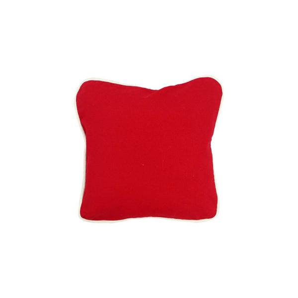 Red Solid Cotton 12 in. x 12 in. Throw Pillow