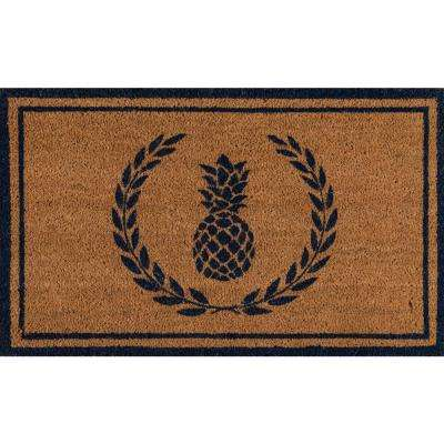 Park Pineapple Navy and Natural 1 ft. 6 in. x 2 ft. 6 in. Indoor/Outdoor Doormat