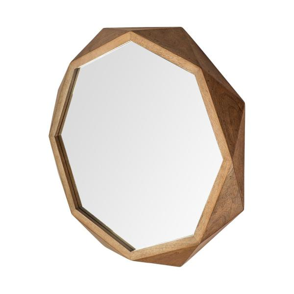 Large Irregular Brown Contemporary Mirror (41.0 in. H x 41.0 in. W)