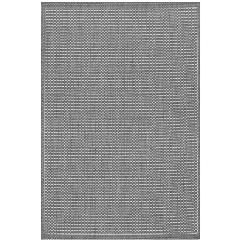 Recife Saddle Stitch Grey-White 9 ft. x 13 ft. Indoor/Outdoor Area