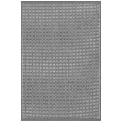 Recife Saddle Stitch Grey-White 9 ft. x 13 ft. Indoor/Outdoor Area Rug