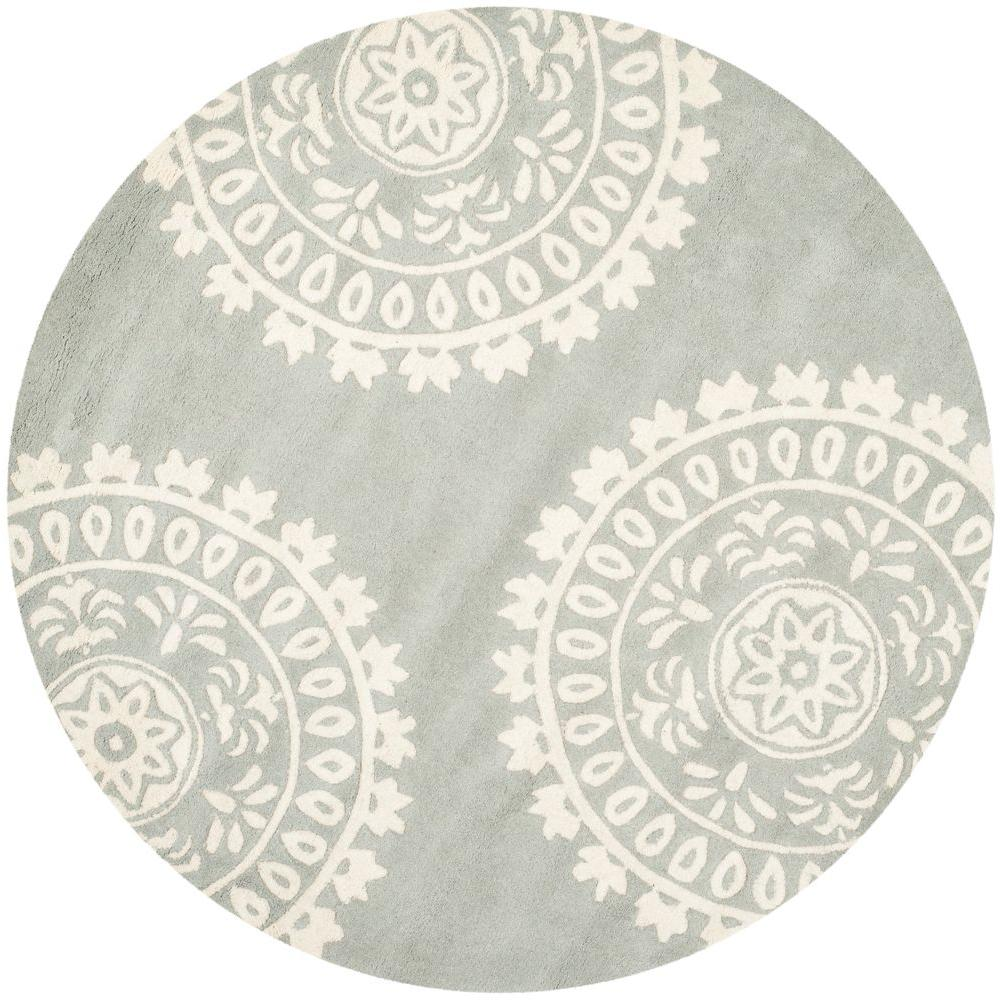 Safavieh Bella Grey Ivory 5 Ft X 5 Ft Round Area Rug