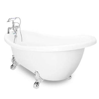 71 in. AcraStone Acrylic Slipper Clawfoot Non-Whirlpool Bathtub with Large Ball in Claw Feet in White Faucet in Chrome