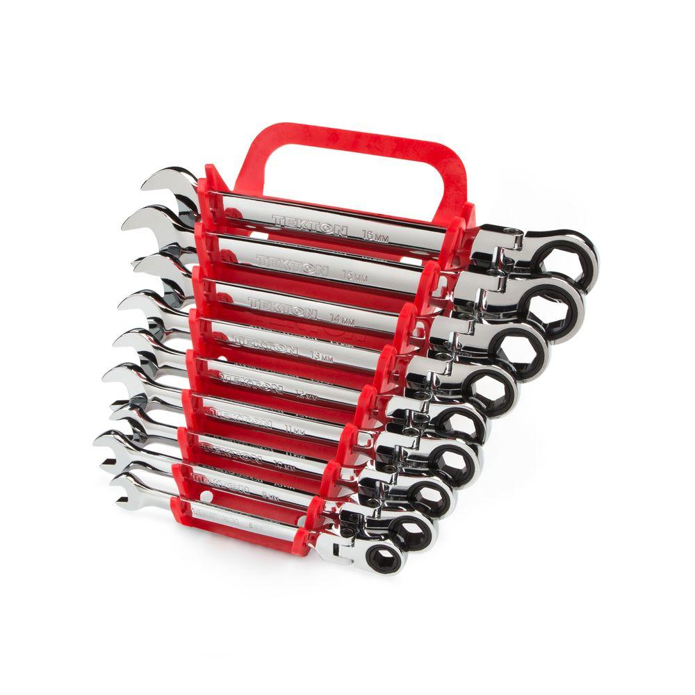 8-16 mm Flex-Head Ratcheting Combination Wrench Set (9-Piece)