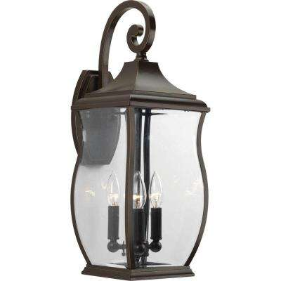 Township Collection 3-Light Oil Rubbed Bronze 22 in. Outdoor Wall Lantern Sconce