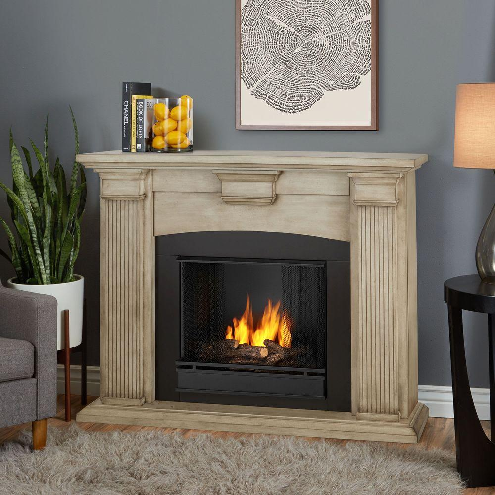 Ventless Fireplace: Real Flame Adelaide 51 In. Ventless Gel Fireplace In Dry