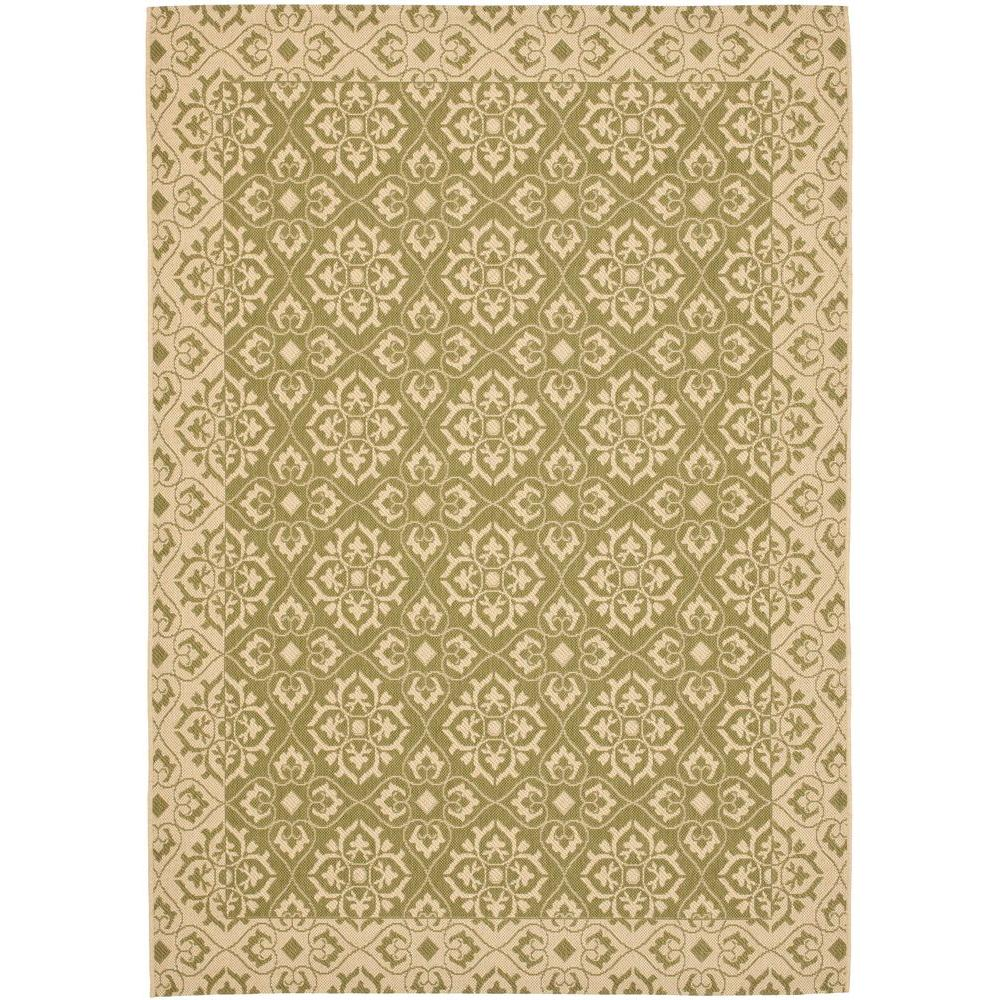 Courtyard Green/Cream 6 ft. 7 in. x 9 ft. 6 in.