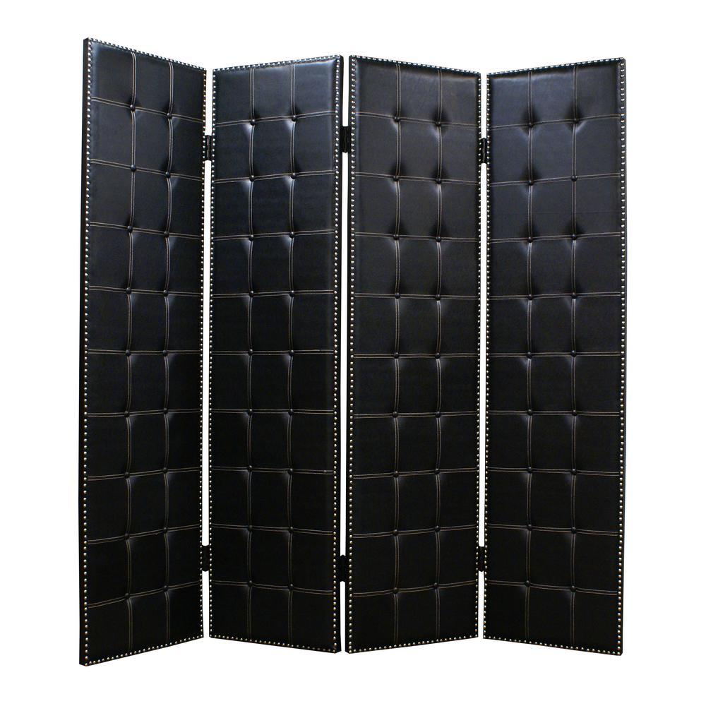BRINKLEY 7 ft. Black 4-Panel Room Divider