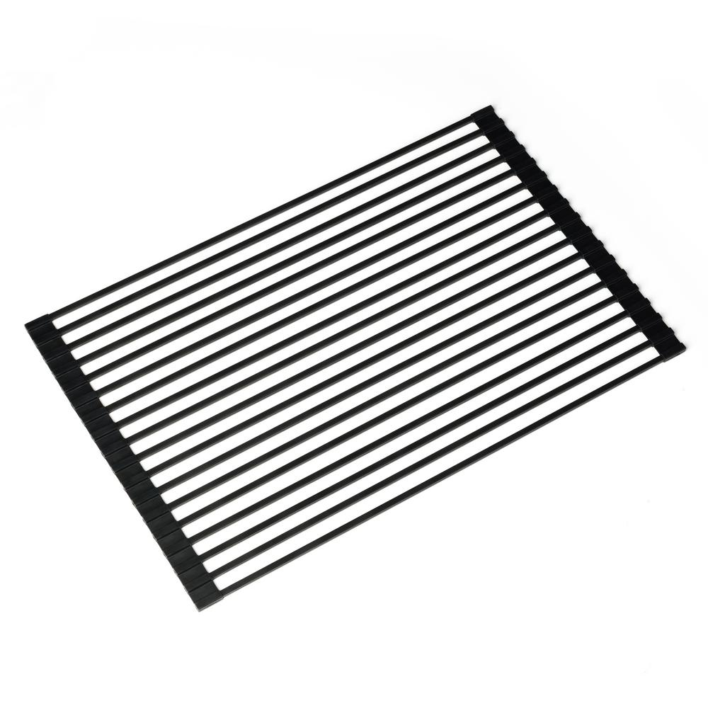 20.5 in. Over Sink Roll Up Dish Drying Rack in Black