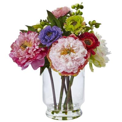 10.5 in. Peony and Mum in Glass Vase