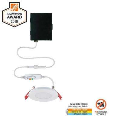 Ultra Slim 3in. Selectable New Construction and Remodel Canless Recessed Integrated LED Kit for shallow ceiling