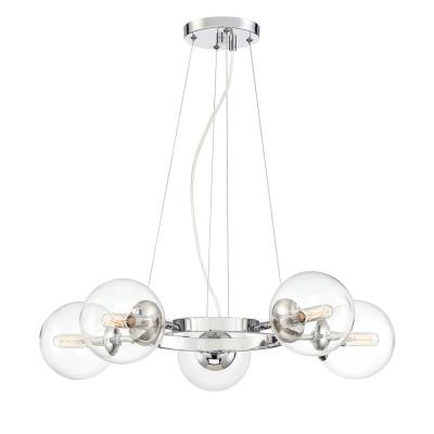 Welton 5-Light Chrome Chandelier with Clear Glass Shade
