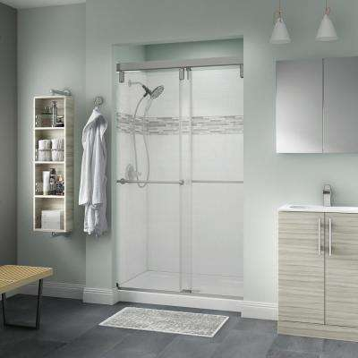 Mod 48 x 74 in. 5-Piece Shower Kit with Nickel Door, Clear Glass, White Classic 400 Shower Base and UPstile Wall Set