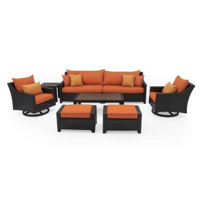Deco 8-Piece Motion Wicker Patio Deep Seating Conversation Set with Sunbrella Tikka Orange Cushions