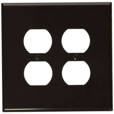 2-Gang 2 Duplex Receptacles, Large/Jumbo Size Plastic Wall Plate - Brown