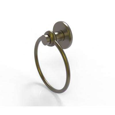 Mercury Collection Towel Ring with Twist Accent in Antique Brass