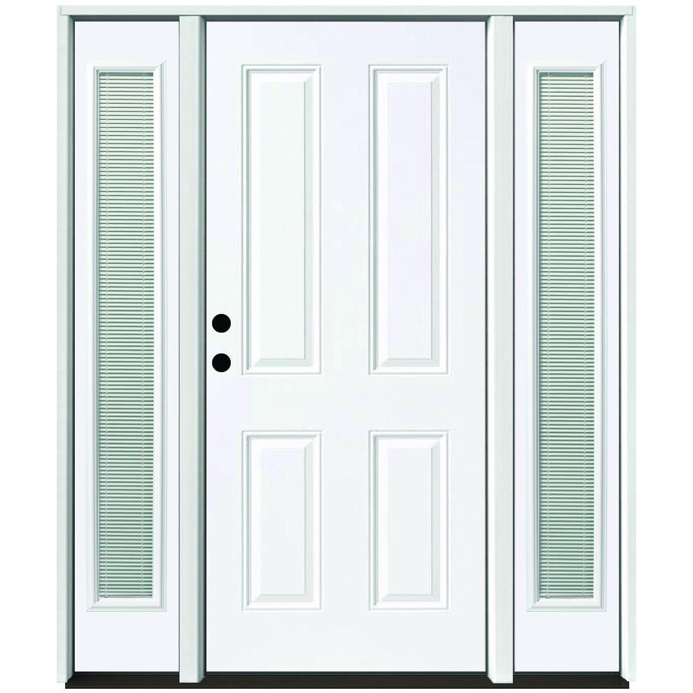 64 in. x 80 in. 4-Panel Primed White Right-Hand Steel Prehung