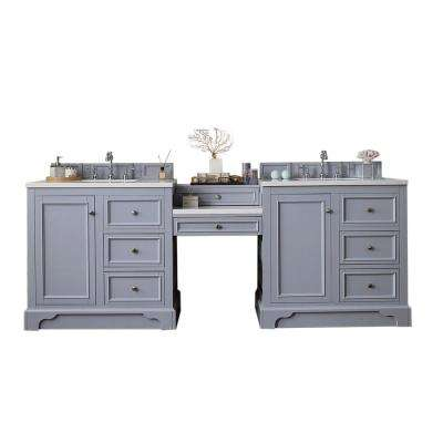 De Soto 94 in. W Double Vanity in Silver Gray with Soild Surface Vanity Top in Arctic Fall with White Basin