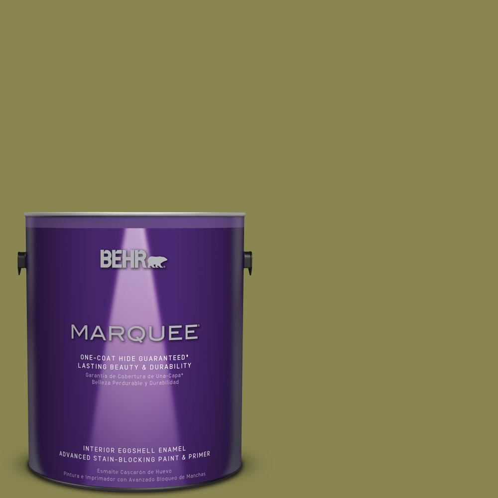 1 gal. #T15-18 Snap Pea Green Eggshell Enamel Interior Paint