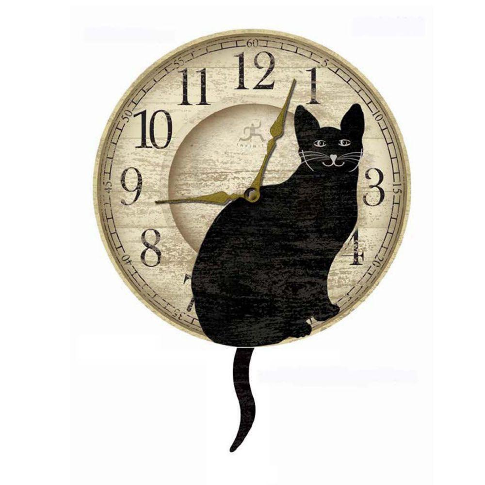 Home Decorators Collection 17-3/4 in. x 14 in. Black Wagging Cat Tail Pendulum Wall Clock