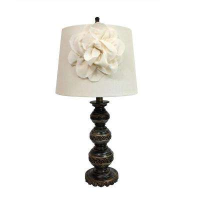 25.5 in. Aged Bronze Stacked Ball Table Lamp with Couture Linen Flower Shade