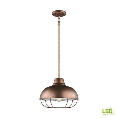 Jeyne 1-Light Weathered Copper Pendant with LED Bulbs
