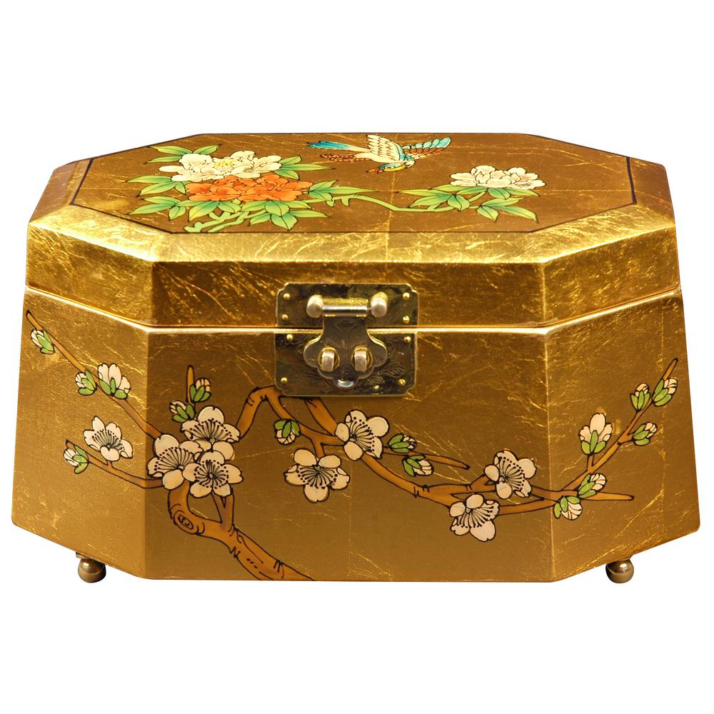 Oriental Furniture Antoinette Lacquer Jewelry Box in Gold