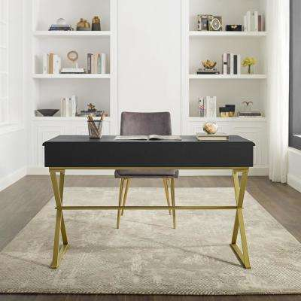 Linon Becca Two-Drawer Black and Gold Campaign Desk