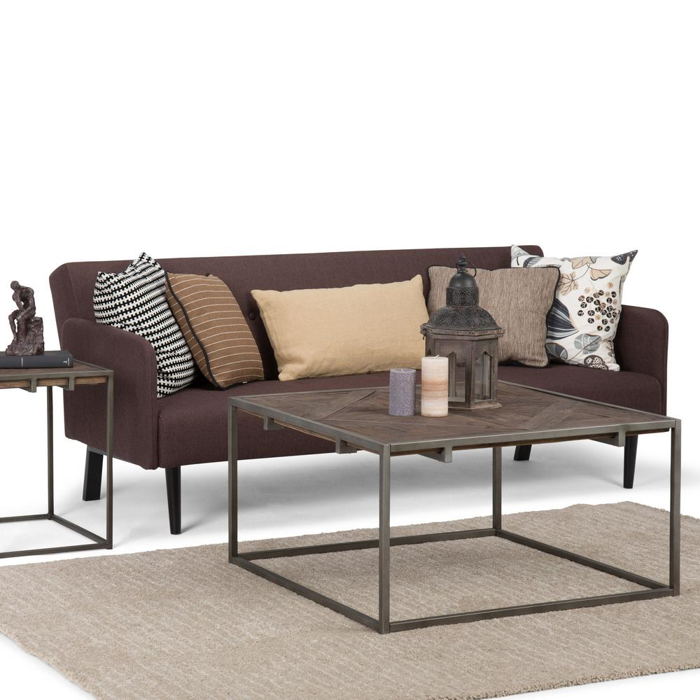 Avery Distressed Java Brown Wood Inlay Square Coffee Table